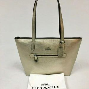 New COACH Taylor Leather Zip Top Tote Metallic